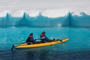 Two men in a canoe photo