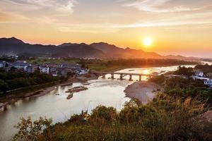 China rural landscape at dusk photo