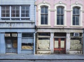 Franse wijk van New Orleans verlaten gebouwen