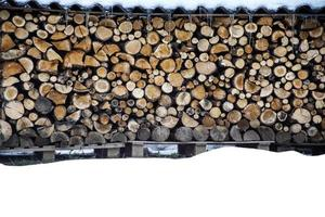Wood pile in winter photo