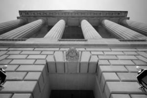 vista baixa ângulo, de, um, governo, predios, em, washington, dc