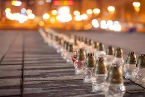 Yahrzeit candles at the Independence Square in Kiev photo