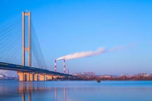 South Bridge in Kyiv at dawn