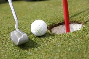 putter, ball and hole