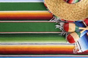 Mexican serape blanket with sombrero photo