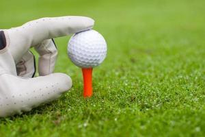 mano colocando una pelota de golf en el tee sobre un hermoso campo de golf foto
