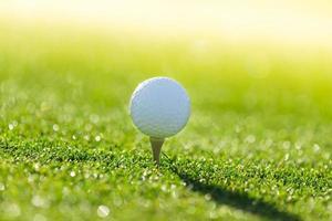 Primer plano de la pelota de golf. foto
