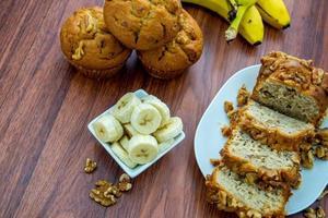 fresh banana walnut bread photo