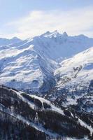 Ski resort in the high mountains, Valmorel, France.