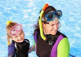 Kind mit Mutter im Schwimmbad.