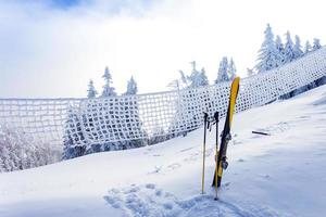 Ski equipment on ski run with pine forest covered in snow photo