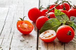 Colorful tomatoes, basil