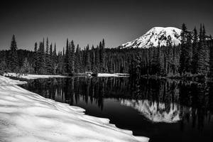 Mt Rainier Reflection in Black and White