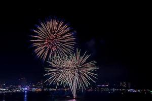 Fireworks celebration in the  city photo