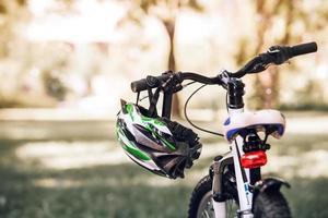 Bicycle helmet on the handlebar photo