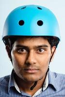 funny man wearing cycling helmet portrait real people high definition photo