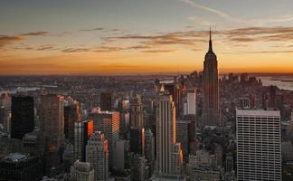 Midtown Manhattan skyline at sunset photo