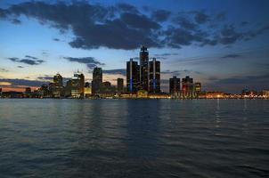 Vista panorámica de Detroit al atardecer, 2015 foto