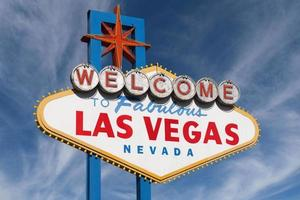 Las Vegas Sign with High Clouds photo