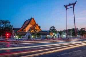 Giant Swing with Suthat Temple in Bangkok photo
