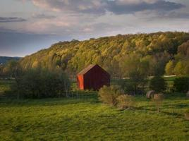 Red Barn in Spring Early Evening