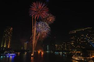 Fireworks display in Bangkok, Thailand. photo