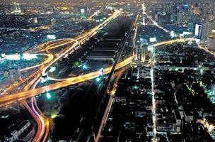 View across Bangkok skyline by night