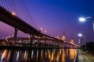 Bridge at night of Bangkok, Thailand.