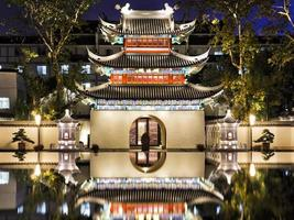 China Nanjing Templo de Confucio cerca oscuro