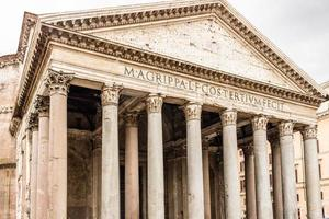 Architecture details of Pantheon in the center of Rome