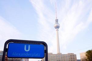 U-bahn Alexanderplatz sign and Television tower, German Fernsehturm. Berlin, Germany