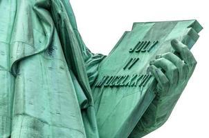 la statua della libertà tiene in mano un tablet