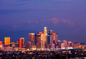 Night photo of the Los Angeles skyline in California
