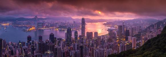 Panorama Aerial view of Hong Kong skyline from Victoria Peak photo