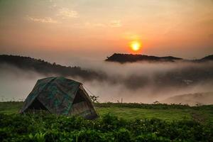 Camping tent with sunshine photo