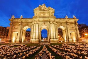 Puerta de Alcala in Madrid at night photo