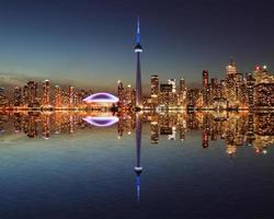 Toronto Skyline at night with a reflection