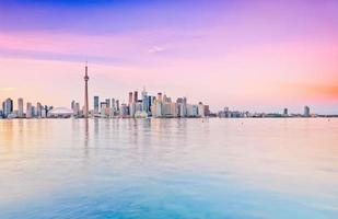 Panorama of Toronto skyline at dusk in Ontario, Canada.