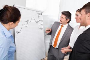 empresarios felices discutiendo el plan dibujado en el rotafolio