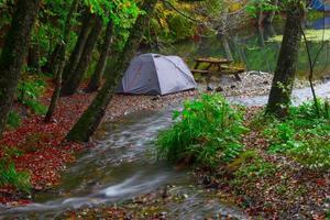 Single tent in autumn in Yedigoller Bolu photo