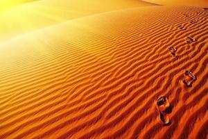 Footprints on sand dune photo