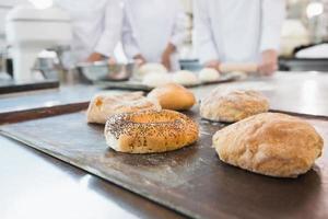 compañeros de trabajo haciendo panecillos y pan juntos foto