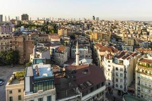 Vista aérea de Istambul ao pôr do sol
