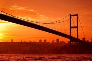 Bosphorus Bridge in Istanbul at sunset photo