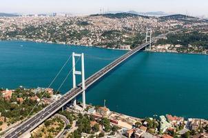 View of the Bosphorus Bridge and the strait below photo