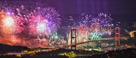 Celebration of the new year, firework over sea photo