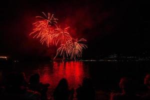 Fuochi d'artificio sul lungolago, Verbania, Lago Maggiore, Piemonte, Italia