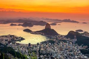 Vista del atardecer de pan de azúcar de montaña, Río de Janeiro
