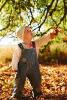 kind gooit herfstbladeren
