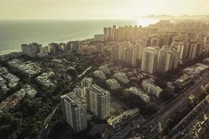 Aerial view of modern Brazilian city at sunset